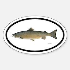 Atlantic Salmon Fishing Oval Decal