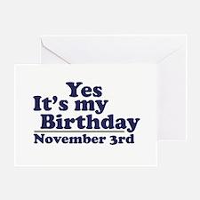 November 3rd Birthday Greeting Card