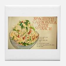 Spaghetti Carbonara With Spinach Tile Tile Coaster
