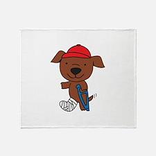 Broken Leg Dog Throw Blanket
