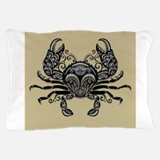 Ornate Black and White Crab Beige Back Pillow Case