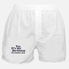 November 2nd Birthday Boxer Shorts