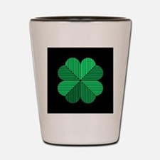 4 leaf clover black Shot Glass