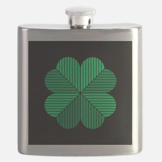 4 leaf clover black Flask