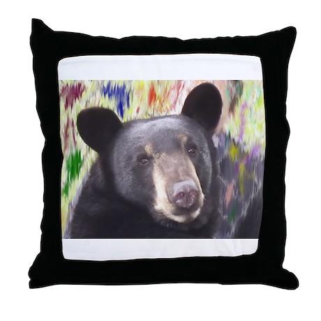 Black Bear Face Throw Pillow