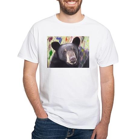 Black Bear Face White T-Shirt