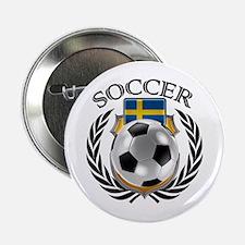 """Sweden Soccer Fan 2.25"""" Button"""