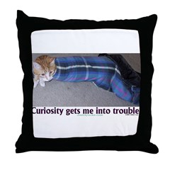 Curiosity Trouble Throw Pillow