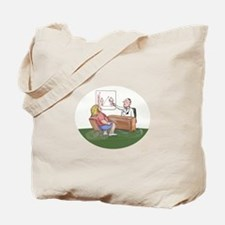 Obese Woman Patient Doctor Caricature Tote Bag