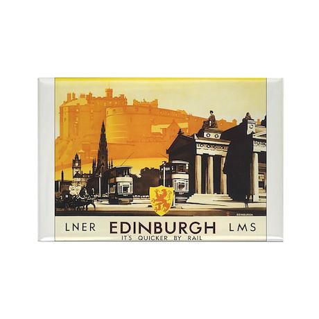 Vintage Edinburgh Travel Post Rectangle Magnet