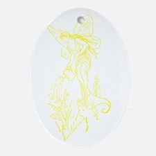 Caring Fairy - Yellow - Oval Ornament