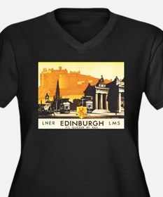 Vintage Edinburgh Travel Post Women's Plus Size V-