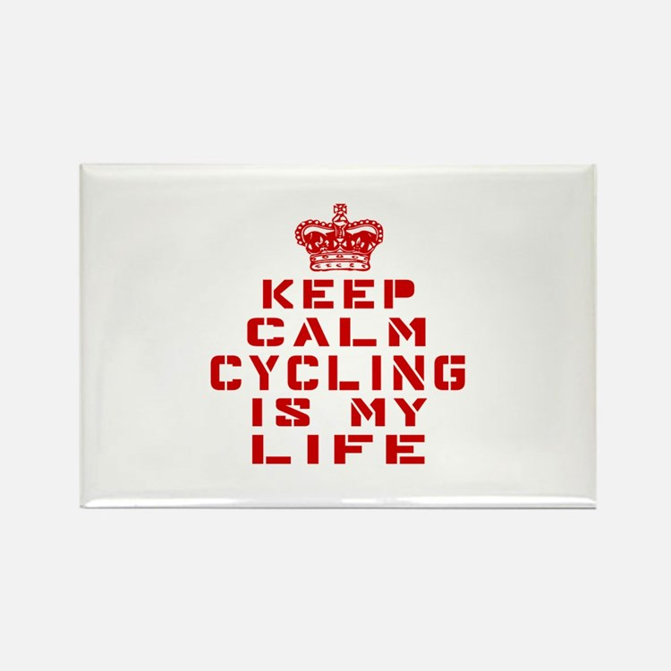 Keep Calm and Cycling Rectangle Magnet