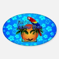 Blue Hibiscus Island Time And Parrot Decal