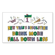 Funny New Year's Resolution Rectangle Decal