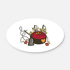 Floral Pin Cushion Oval Car Magnet