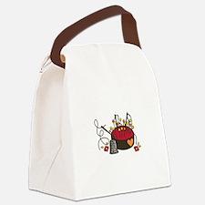 Floral Pin Cushion Canvas Lunch Bag