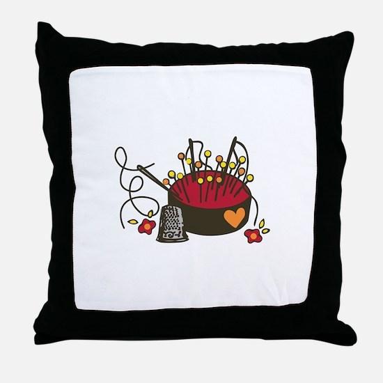 Floral Pin Cushion Throw Pillow