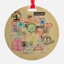 Vintage Passport Stamps Ornament