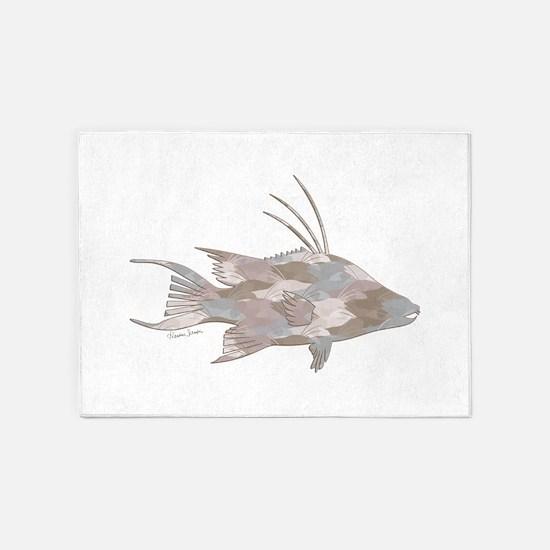 Cindy's Camo Hogfish 5'x7'Area Rug
