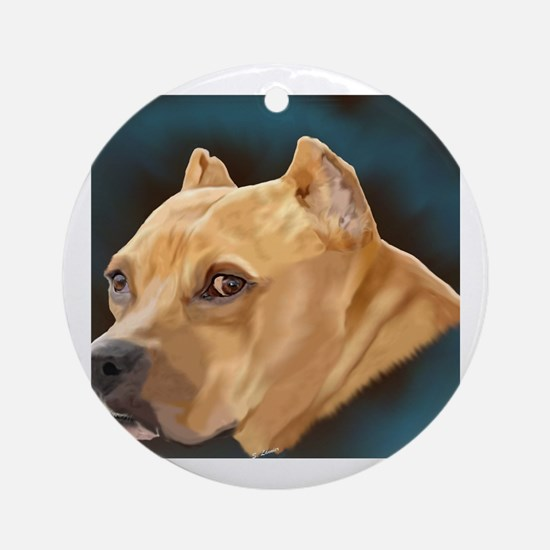 Funny Pitbull Round Ornament