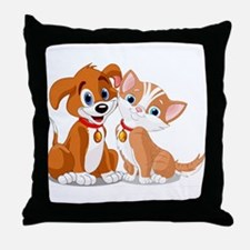 BFFs Dog and Cat Throw Pillow
