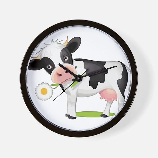 Flower Power Cow Wall Clock