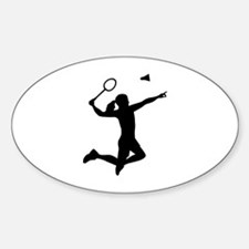 Badminton woman girl Sticker (Oval)