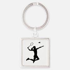 Badminton woman girl Square Keychain