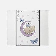 Piggy on the moon II Throw Blanket