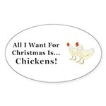 Christmas Chickens Sticker (Oval 10 pk)