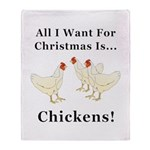 Christmas Chickens Throw Blanket