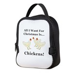 Christmas Chickens Neoprene Lunch Bag