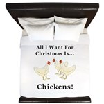Christmas Chickens King Duvet