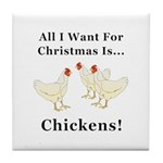 Christmas Chickens Tile Coaster