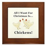 Christmas Chickens Framed Tile
