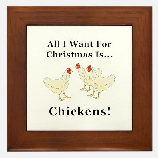 Christmas Chickens Framed Tile