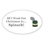 Christmas Spinach Sticker (Oval 10 pk)