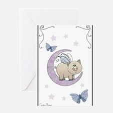 Piggy on the moon II Greeting Cards