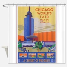 Chicago World's Fair Vintage Poster Shower Curtain
