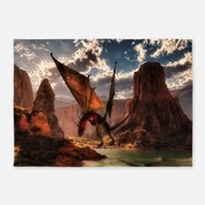 Fantasy dragon in the mountains 5'x7'Area Rug