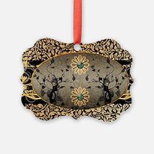 Wonderful black golden flowers Ornament