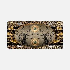 Wonderful black golden flowers Aluminum License Pl