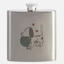 Puppy With Yarn Flask