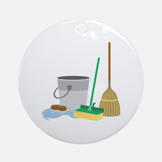 Cleaning Supplies Round Ornament