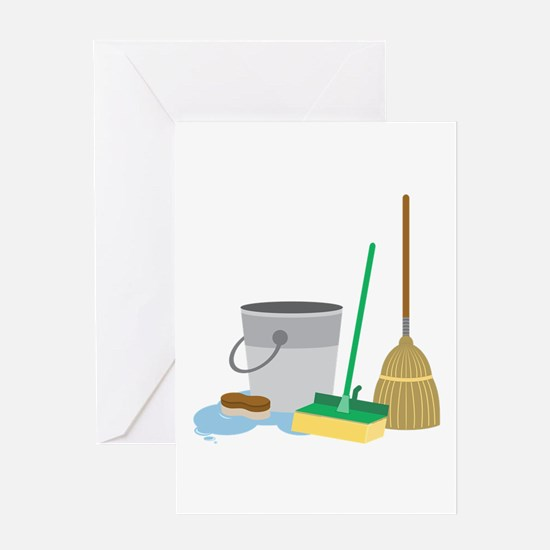 Cleaning Supplies Greeting Cards