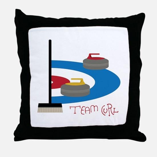Team Curl Throw Pillow