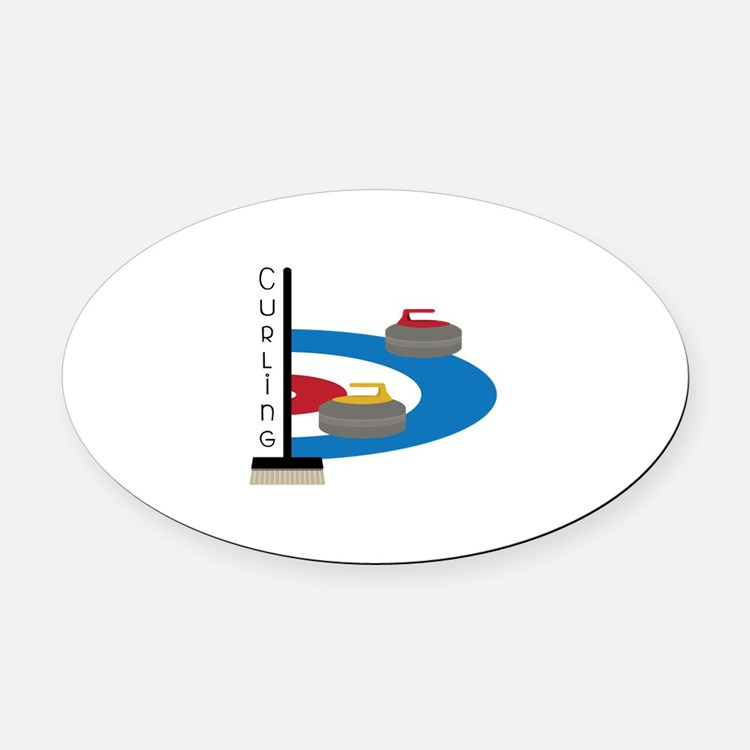 Curling Sport Oval Car Magnet