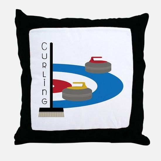 Curling Sport Throw Pillow