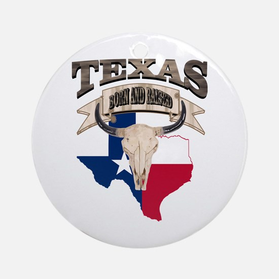 Bull Skull Texas home Round Ornament